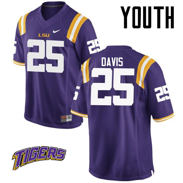 Youth #25 Drake Davis LSU Tigers College Football Jerseys-Purple